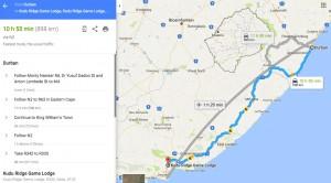 Kudu Ridge Game Lodge Travel Routes