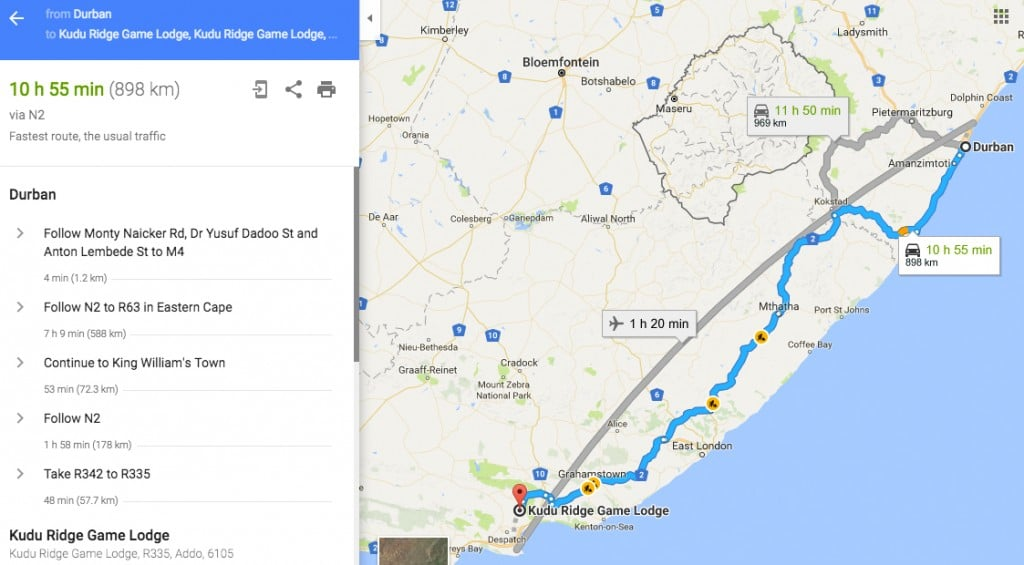 Kudu Ridge Game Lodge Travel Routes